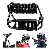 Bestcool Candado para casco de motocicleta, combinación de cable de bicicleta, bloqueo ligero para casco de bicicleta, bloqueo de equipaje compacto para casco de bicicleta, chaqueta