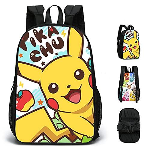 ZBK Bolsa escolar con diseño de Pikachu de dibujos animados, diseño de doble cara, mochila para ordenador portátil, para estudiantes, niños, niñas, 4 colores