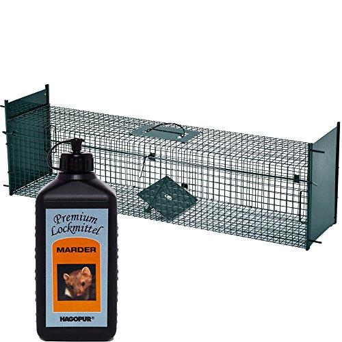 Lebendfalle Secure-L 103 cm + 100 ml Hagopur Marder Lockstoff - zuverlässige & sichere Tierfalle mit 2 Eingängen - sofort einsatzbereit & wetterfest - ideal für Marder, Katzen, Kaninchen, Iltis