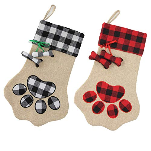 XinblueCo 2Pieces Christmas Stocking Pet Paw Stockings Burlap Fireplace Hanging Stockings for Dog Cat and Christmas Decoration…