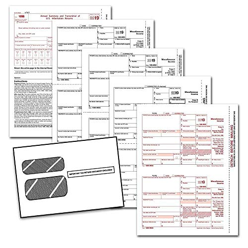 1099 MISC Tax Forms 2019, 4 Part Vendor Kit, Laser Forms for QuickBooks and Accounting Software, 25 Self Seal Envelopes