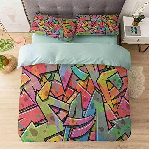 Aishare Store 3 Pieces Duvet Cover Set, Abstract Grunge Arrows Graffiti Inspired Spray Paint Style Figures Illus, Printed Duvet Cover Set with Ultra-Soft Microfiber, Multicolor