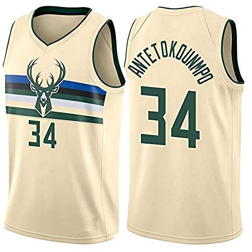 JINHAO Herren Basketball Trikot NBA Milwaukee Bucks #34 Giannis Antetokounmpo Mesh Basketball Swingman Trikot (Beige, XL)