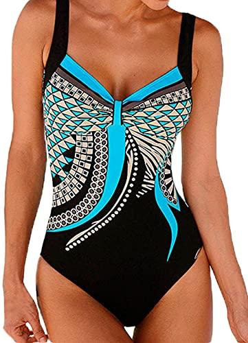 HAPPY SAILED Damen Badeanzug Drucken Push Up Bademode Bauchweg Badeanzuge Swimsuit S-XXL (1blau, XL)
