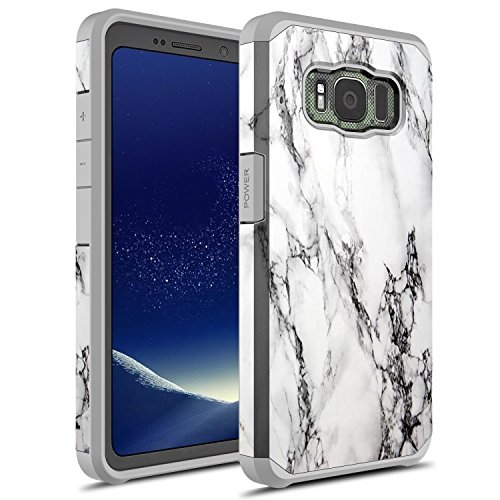 Galaxy S8 Active Case, Rosebono Hybrid Dual Layer Shockproof Hard Cover Graphic Fashion Cute Colorful Silicone Skin for Samsung Galaxy S8 Active (White Marble)