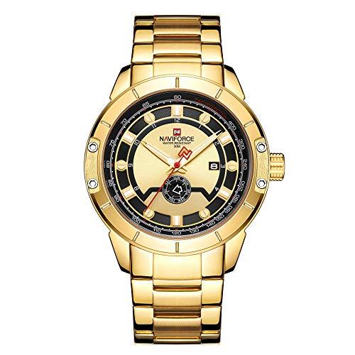 Reloj Casual de Moda para Hombres Reloj multifunción Impermeable Reloj de Pulsera de Cuarzo -B