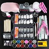 COSCELIA Kit Uñas Acrilicas 6w Lámpara U-V/LED 3pcs Acrilicas de Uñas de Blanco Transparente Rosa de 8g Top Coat Monómero de Uñas de 120ML Pegamento de 10g para Manicura Kit