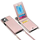 Vofolen for iPhone 13 Pro Wallet Case with Lanyard Crossbody Strap Credit Card Holder Leather Magnetic Clasp Kickstand Heavy Duty Protective Square Flip Cover for iPhone 13 Pro 6.1inch Rose Gold