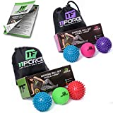 11FORCE Massage Ball Set - Includes 2 Spiky Balls and 1 Lacrosse Ball - Excellent for Sciatic Nerve Massage, Trigger Point Therapy, Reflexology, Myofascial Release, Muscle Recovery, Yoga, Foot Pain