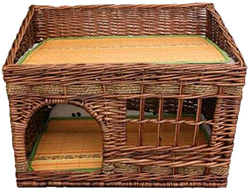 GUIYTQ5R Dog bed Cat bed Pet bed Rattan Wicker Pet Dog Cat Bed House Dog Crates Kennels Kitten Beds Dog Bed Pets Beds Wooden Cat Villa Small Dog House
