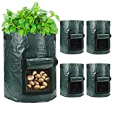 YIJIANG 5 Pack 10 Gallon Garden Planting Pot Potato Grow Bags with Flap and Handles Potato Planter Bags for Carrots, Onions, Vegetables