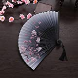 ZYTB Ventilador Plegable 1pcs Elegante Flor del melocotón con Ventilador Floral del Ventilador de la Mano Abanico Plegable de la Mariposa Antigua de Estilo japonés Sakura for la decoración de Verano