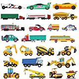 Ooopsiun Cars and Trucks Temporary Tattoos for Boys - 100 Tattoos, Cars Construction Decorations Supplies Favors for Kids Boys