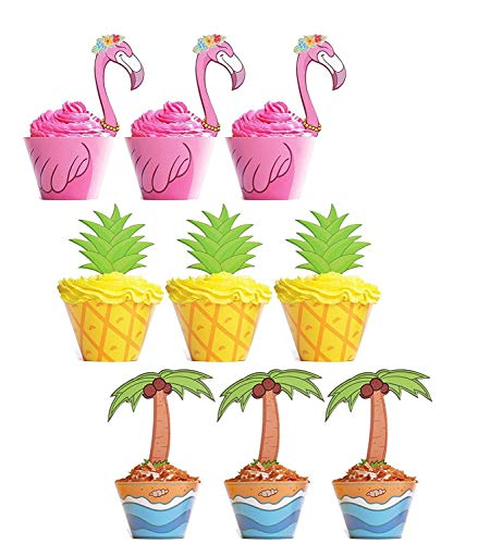 45 PCS Flamingo / Pineapple / Palm Cupcake Toppers Wrappers - Luau Tropical Hawaiian Pool Party Supplies Cake Decorations
