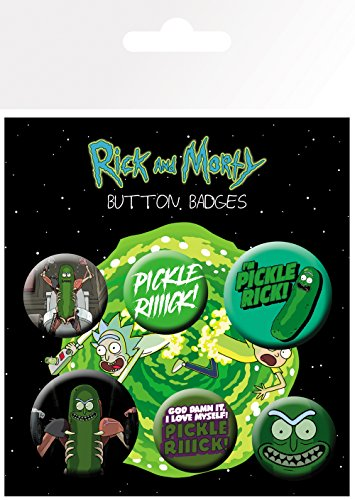 GB eye and Morty Pickle Rick Badge Pack, Aluminium, verschieden, 14 x 0.3 x 10 cm