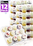 Chefible Premium 12 Plastic Disposable Cupcake Carrier Container Box High Dome, Extra Sturdy For Easy Transport! 12 pack