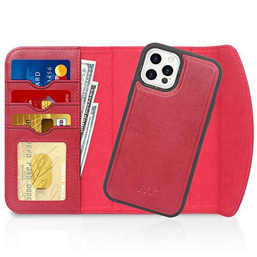 Fyy iPhone 12/12 Pro Case 2 en 1 Magnétique détachable Cuir Portefeuille Étui avec porte-cartes de protection antichoc pour Apple iPhone 12/12 Pro 15,5 cm (2020) Rouge
