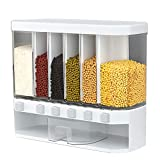 Aliyaduo Wall-mounted Rice Storage,Dry Food Cereal Dispenser-6-Grid Containers for Storage of Rice Grains Nuts Beans Candy Cereals,Saving Space for Kitchen