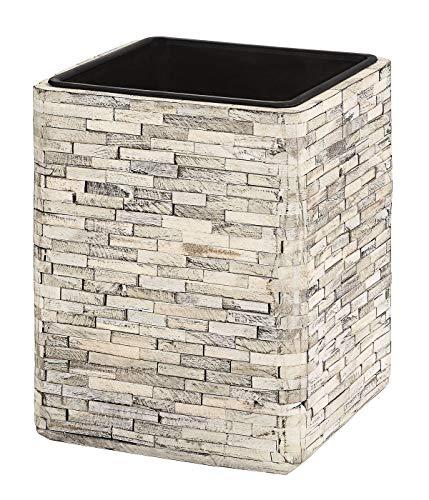 Dehner Premium Pot de Fleurs Luan avec Pot intérieur, env. 37 x 29 x 29 cm, Bois/Plastique, Beige