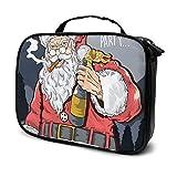 Santa Claus Beber Beer Maquillaje Bolsa Organizador Cosmético Belleza Estuche Viaje Bolsa