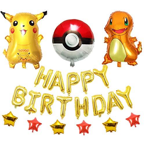YUESEN Luftballons Geburtstag 10 Stück Luftballons Folienballons Pikachu Ballons Deko Helium Luftballons Buchstabenballons für Kind Pikachu Geburtstag Dekoration