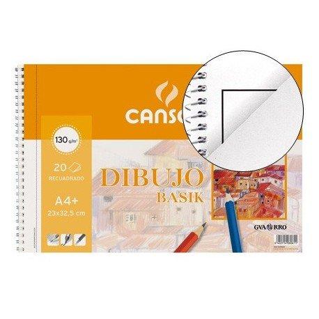 Canson Dibujo Basik Recuadro/Taladro, Álbum Espiral Microperforado, A4+ (23x32,5 cm) 20 Hojas 130g