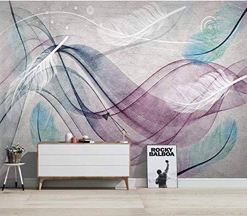 BVCK 3D Decorations Stickers Wallpaper Wall Murals Abstract Lines Of Colored Feathers Living Room Sofa Background Art Kids Room_(W) 200x(H) 140cm
