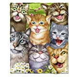 Cats Selfie Super Soft Plush Fleece Throw Blanket