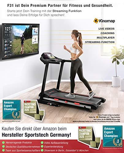 Sportstech F31 Profi Laufband | Deutsches Qualitätsunternehmen | Video Events & Multiplayer App auf LCD Monitor | Smartphone kompatibel | 4PS bis 16km/h | Heimtrainer klappbar & kompakt verstaubar