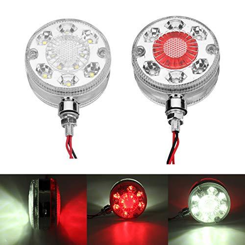 HEHEMM Lot de 2 feux de gabarit latéraux à LED double face pour camions, voitures, remorques, tracteurs, 24 V (blanc/rouge)