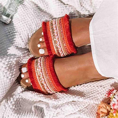 YFWJD Women's Open Toe Sandals Summer Bohemia Embroidery Flower Bead Folk Boho Beach Flip Flops Slipper Shoes,Red,43