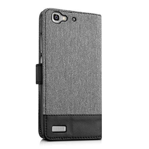 kwmobile Huawei GR3 / P8 Lite SMART Hülle - Kunstleder Wallet Case für Huawei GR3 / P8 Lite SMART mit Kartenfächern und Stand - Grau Schwarz - 3