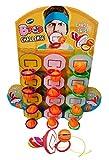 WOM Bpop Challenge, Chupetes de Caramelo con Forma de Canasta con una pelota colgando, para encestar. Display de 12 unidades de piruleta de fresa con forma de canasta