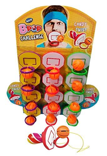 WOM Bpop Challenge, Basketbal Hoepel Lolly Fopspenen met een Hangende Bal, om te Dunken. Veelkleurige Snoepfopspeen met…