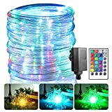 B-right RGBW Rope Lights Outdoor, 17 Colours Rope Lights with Remote Timer Plug 20 Modes Low Voltage Rope Lighting 49FT 150 LED Connectable Waterproof Warm White Rope Lights for Bedroom Garden Decor
