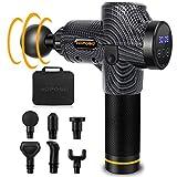 Massagepistole Massagegerät Elektrisches HOPOSO Massage Gun mit 30 Geschwindigkeiten 6 Massageköpfen LCD-Anzeige-Touchscreen Massage Pistole (Schwarz)