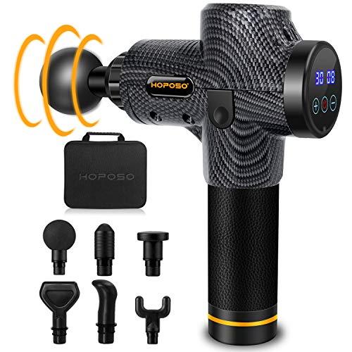 Massagepistole Massagegerät Elektrisches HOPOSO Massage Gun mit 30 Geschwindigkeiten 6 Massageköpfen LED-Anzeige-Touchscreen Massage Pistole
