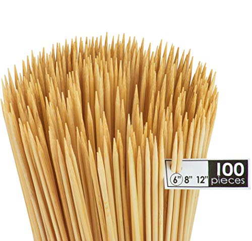 DecorRack Natural Bamboo Skewer Sticks, Natural Wooden Barbecue Kabob Skewers, Best for Grill, BBQ, Kebab, Marshmallow Roasting or Fruit Sticks, 6 inch (Pack of 100)