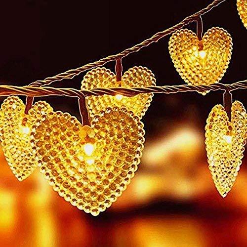 Lumières de Coeur Solaires, EONHUAYU Cœur Solaire 30LED 19.7ft Lmperméabilisez avec L'éclairage de 2 Modes pour Extérieur, Jardin, Décorations de Noël (Warm White)