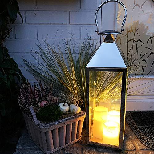 Mojawo XXL Luxus Gartenlaterne aus rostfreier Edelstahl Windlicht Laterne Glas H54 cm Silber inkl. LED Lichterkette + LED Kerze