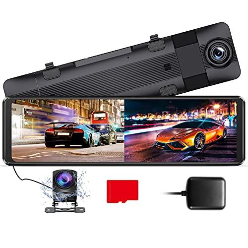 AZDOME 11' Dashcam Rétroviseur&Caméra de Recul[1296P, 170°Avant+1080P, 150°Arrière], GPS, WDR, G-Capteur, Enregistrement en Boucle, Surveillance de Stationnement, 32G Micro SD-Carte(PG16)