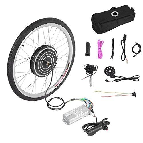 Kit di Conversione Bici Elettrica 36V 500W, Ruota di Conversione 26' Bici Elettrica con indicatore di potenza e impugnatura dell'acceleratore, velocità massima 28 mph, Nero.