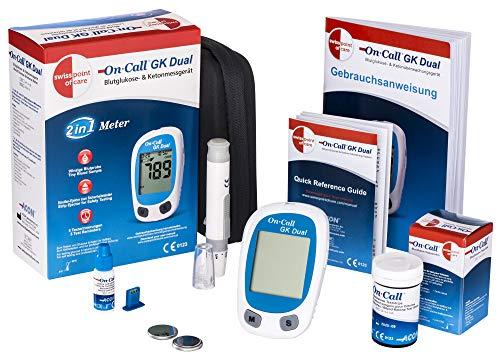 Go-Keto Kick Start Set mg/dl | Go-Keto Dual Ketone Messgerät + Stechhilfe + Lanzetten + 25 Ketone Teststreifen (Masseinheit: Ketone= mmol/l und Glukose=mmol) | zur Überwachung der Ketonwerte im Blut