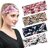4 Pcs Boho Diademas Cabello Diadema Accesorios Yoga Headwrap Turbante Bufanda para El Cabello para Mujeres y Niñas