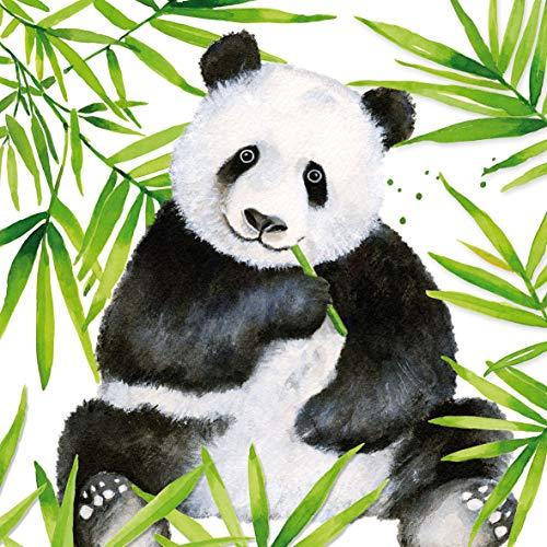 Home Collection Servietten (2er Set / 40Stück) 3-lagig 33x33cm Tropical Panda Blätter Bambus