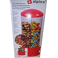 Il dispenser di Candy dalla casa Alpina rende facile la porzione di fino a 3 dolci o cerie. Gli scomparti possono essere riempiti con caramelle, noci, rose o cerimonie come cereali. Per estrarre il tamburo ruotare in modo che i dolci desiderati siano...