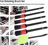 Pinceles de Detalles Automotriz Auto Detailing Brush Set con Herramientas de Limpieza de Parabrisas, para Ruedas de Limpieza, Motor, Interior, Emblemas, Salidas de Aire Etcgreen