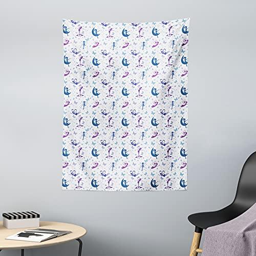 ABAKUHAUS Angel Wings Wandteppich & Tagesdecke, Schmetterlinge & Feen, aus Weiches Mikrofaser Stoff Dreck abweichender Digitaldruck, 110 x 150 cm, lila Multicolor