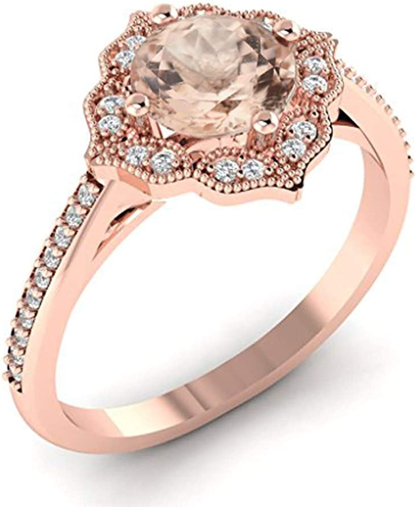 GNG Floral Style Natural Morganite and Diamond Halo Engagement Ring in 14K Rose Gold (Center 7mm Round)
