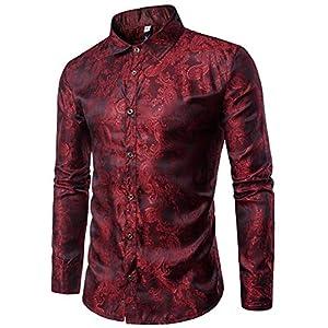[クープ・ド・クール] きれいめ シャツ メンズ 柄 長袖 個性的 デザイン 派手 カッコいい ワイシャツ お兄系 カッターシャツ (L, レッド) ドレスシャツ フォーマルシャツ ドレスコード ドレスフォーマル フォーマルスーツ ホスト きれいめシャツ きれいシャツ ノーアイロン